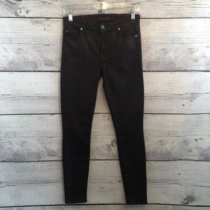 7 For All Mankind Coated Burgundy Skinny Pants 27